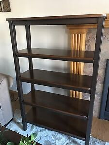 Wood and metal shelving unit