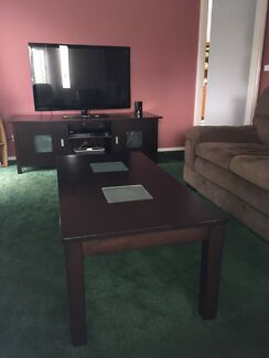 Dark Brown Wood Coffee Table and Entertainment Unit