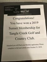 TANGLE CREEK SUNSET MEMBERSHIP FOR 2019