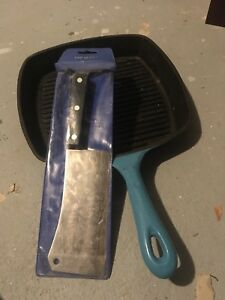 Cast iron pan and sabatier cleaver
