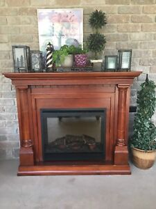 Patio Fireplace with decor