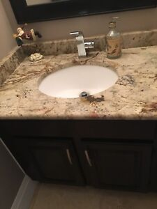 "35"" Granite And Vanity with under mount sink"