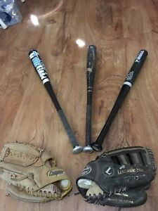 Three T-ball bat And 2 Baseball gloves