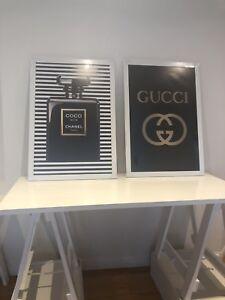 Gucci Print Chanel Perfume Art Print Poster framed