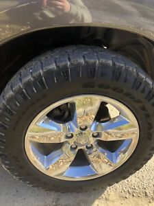 """Shined 20"""" dodge 1500 wheels and tires at 65%"""