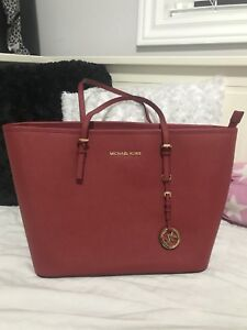 Authentic Michael Kors Red Tote gold hardware