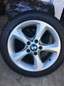 """17"""" BMW OEM Rims with Michelin snow ice tires"""