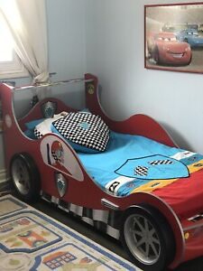 Kid's Bed, mattress, closet and special bed cover