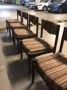 5 Parker Mid Century Teak Dining Chairs