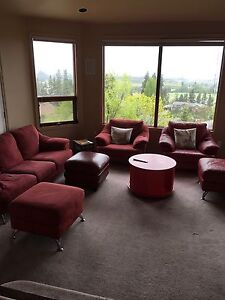Red Natuzzi Couch, Chair and Foot Stools in KELOWNA