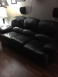 Black leather dual recliner