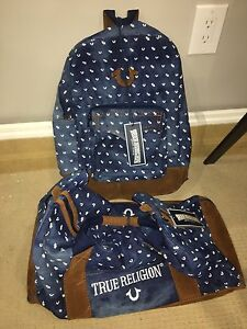 True religion backpack and dufflebag authentic