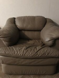 For Sale: Leather Hide a Bed Sofa and Chair