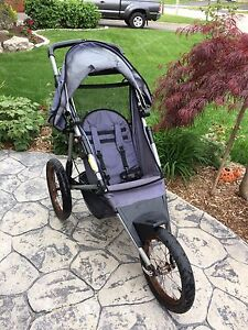 Jogging Stroller by InStep, with fixed front wheel in blue grey