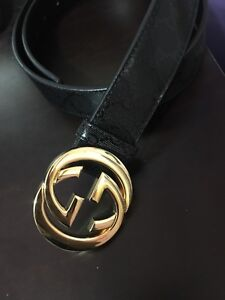 Official Gucci belt gold and black textured