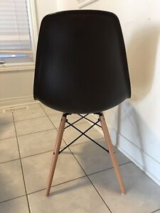 Eames Blue and Brown Wooden Dowel Base Dining Chairs