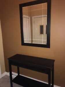 Console table with beveled mirror