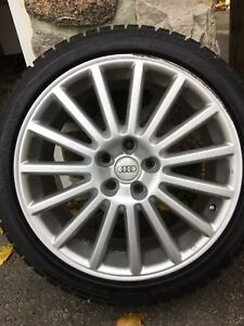 """18"""" AUDI mags center bore at 57,1 mm  and Blizzak Tire 245-40-18"""