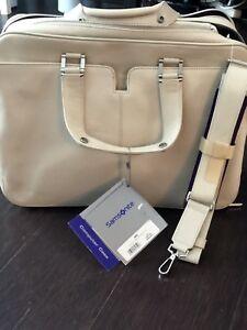 Samsonite - white leather laptop bag - briefcase