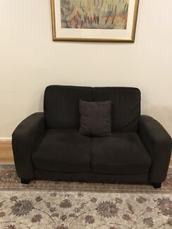 two seater dark brown velvet couch - free to pick up
