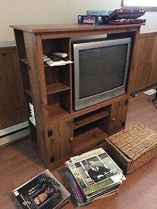 Entertainment console with TV and DVD player