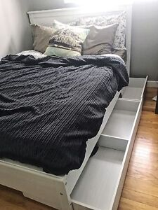 IKEA double bed frame with 2 storage drawers