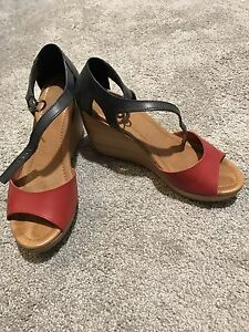 Women's Madewell Navy/ Red Wedge Sandals