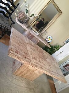 Travertine marble dining table and side table