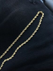 Gold rope chain necklace