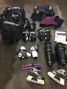 Hockey equipment w/bag and other