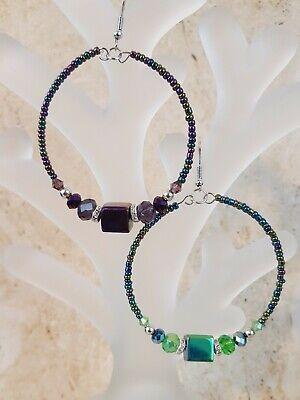 Women Fashion Jewelry 2 Pair Green and Purple Color  Earrings Hoop Fish Hook