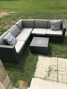 Dark gray seating