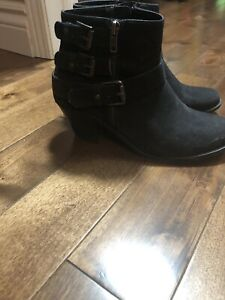 Ladies black suede booties. Size 7. New condition