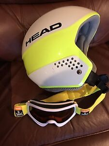 Child size small ski helmet and goggles