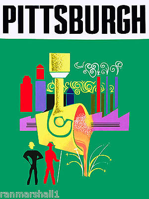 Pittsburgh Pennsylvania United States of America Travel Advertisement Poster
