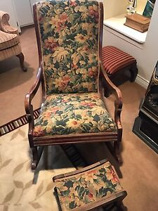 Antique rocking chair & matching footstool