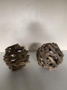 Pair Of Farmhouse Driftwood Home Decor Balls