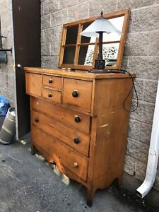Antique Pine 'Bonnet' Chest and Mirror