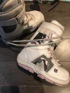 Girls snowboarding boots and snowboard