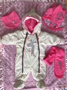 New Baby Girl Deux Par Deux 6M Snowsuit