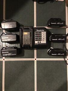 Makita charger and batteries