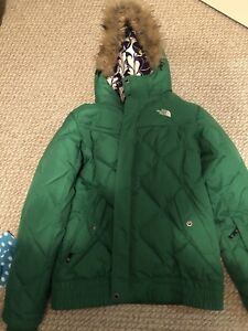 North face bomber parka with fur hood