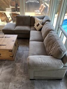 LIKE NEW GRAY MICROSUEDE SECTIONAL COUCH SOFA SET