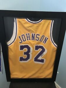 Framed Magic Johnson Autographed Jersey w/ COA