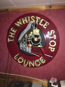 Large Neon Whistle Stop lounge train sign original tubes
