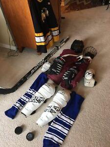 Hockey equipment and 4 sticks