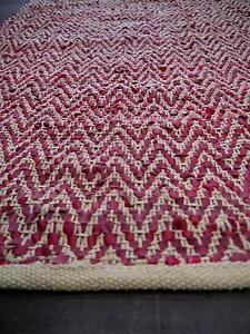 New Graphic Red Herringbone Recycled Rustic Leather Weave Rugs Melbourne CBD Melbourne City Preview