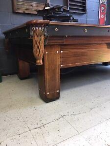 Table de billard antique  9'  restaurée BRUNSWICK MONROE 1928