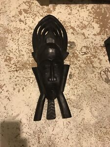 Hanging wooden wall mask
