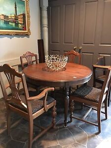 Antique MAHOGANY DINING SET WITH 3 inserts $360